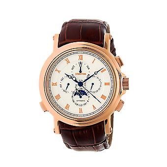 Heritor Automatic Kingsley Leather-Band Watch - Rose Gold/White