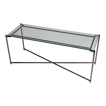 Gillmore Clear Glass Low Console Media Table With Gun Metal Cross Base