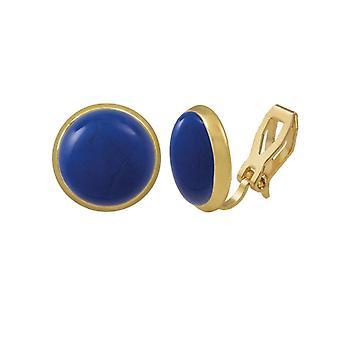 Colección eterna Sinfonía Lapis azul Howlita oro Stud Clip en pendientes