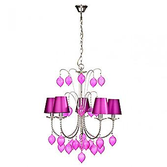 Premier Home Chandelier, Chrome, Soie, Rose