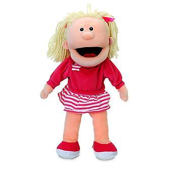 Tellatale wit meisje bewegende mond Hand Puppet