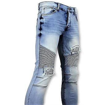 Blue Skinny Jeans With Cracks - Pants 3008