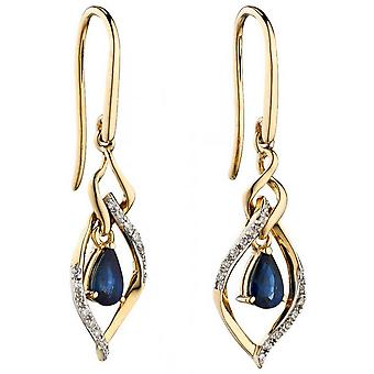 Elements Gold Sapphire and Diamond Marquise Earrings - Blue/Gold/Silver