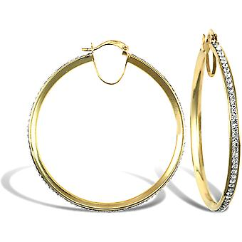 Jewelco London Ladies 9ct Yellow Gold White Round Crystal Eternity 3mm Hoop Earrings 40mm