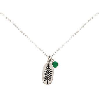 Gemshine Alpin Tanne Wald Halskette 925 Silber, vergoldet, rose - Smaragd Grün