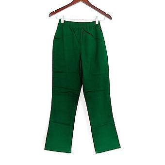 Denim & Co. Petite leggings stretch støvle skåret grøn A01724