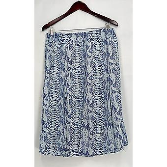 Dennis Basso Skirt Snake Print Woven with Side Zip Navy Blue A262917