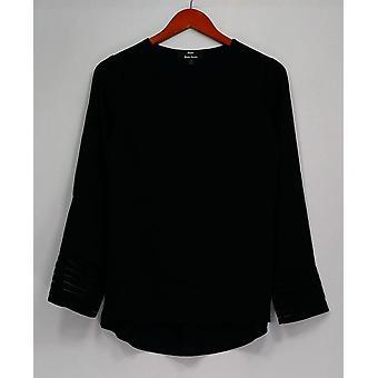 Blusa superior Dennis Basso con detalle de manguito y alto bajo bajo negro A262602