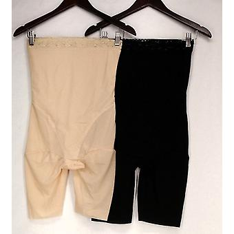Slim Lift Set of 2 Lace Trimmed High Waist Shaping Shorts Beige/ Black S420351