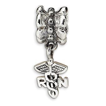 925 sterling silver polerad antik finish reflektioner sjuksköterska symbol Dangle pärla charm