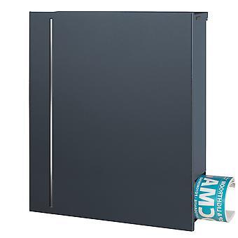 MOCAVI boîte 144R puriste letterbox avec journal caché spécialiste couleur, gris anthracite (RAL 7016) avec design en acier inoxydable