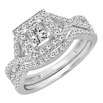 Dazzlingrock collectie 1,00 karaat (CTW) 14K Princess & ronde Diamond dames Verlovings ring set 1 CT, wit goud