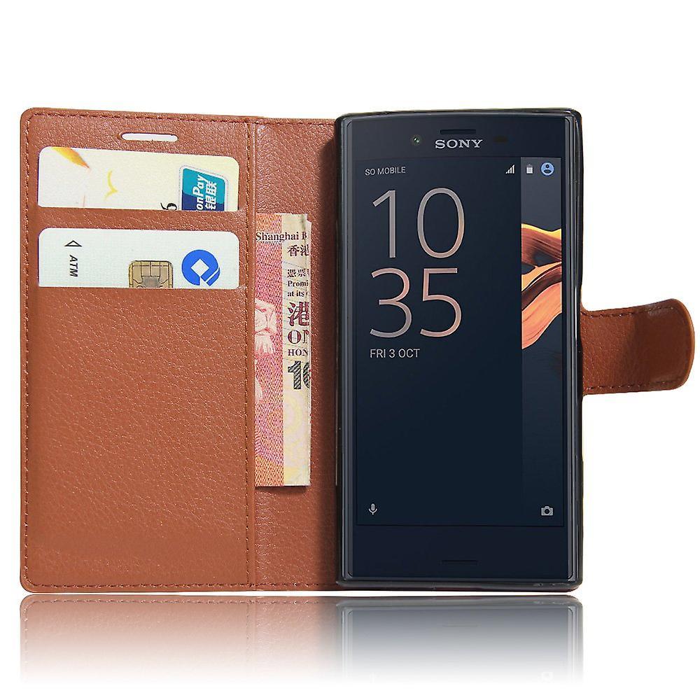 Xperia Z5 case wallet leeche case brown