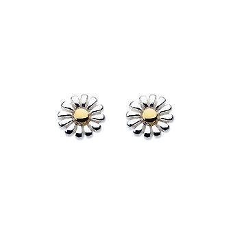 Dew Sterling Silver Dinky Daisy With Gold Plate Stud Earrings 48144GD004