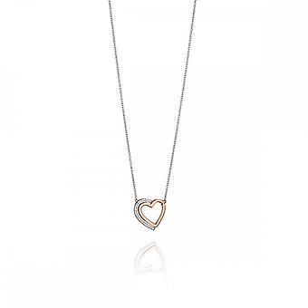 Fiorelli Silver Two Tone Heart Pave Shadow Necklace N4140C