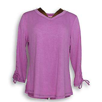 Isaac Mizrahi Live! Vrouwen ' s top Soho Ruched 3/4 mouw paars A305204