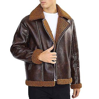 Brave Soul Mens Pittsburgh Long Sleeve Shearling Trim Aviator Jacket - Brown
