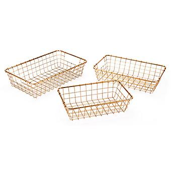 "19.7"" X 11.8"" X 4.9"" 3 Pcs Simple Gold Baskets Grid Trays"
