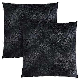 """18"""" x 18"""" Black, Feathered Velvet - Pillow 2pcs"""