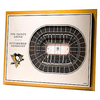 YouTheFan Wood Wall decoration stadium Pittsburgh Penguins 43x33cm