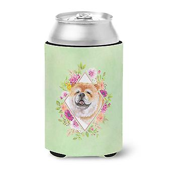 Carolines Treasures  CK4292CC Chow Chow #2 Green Flowers Can or Bottle Hugger