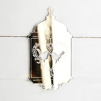 Shabby Chic uccello gabbia specchio acrilico - cuore uccelli