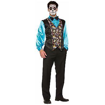 Day Of The Dead Skulls Bones Skeleton Mexico Spanish Men Costume Vest