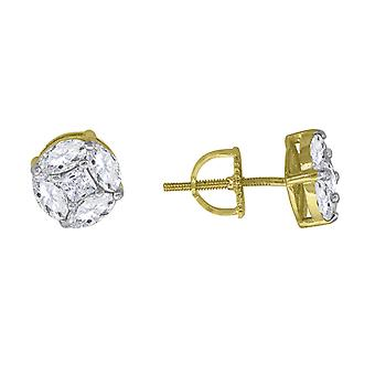 Yellow tone 925 Sterling Silver Womens Mens Unisex Princess CZ Circle Fashion Stud Earrings Jewelry Gifts for Men