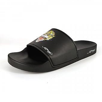 Ed Hardy Fierce Black Slide Sandals