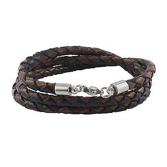 Lederkette Lederband 6 mm Herren Halskette Schwarz / Braun 17-100 cm lang mit Karabiner Verschluss Silber geflochten