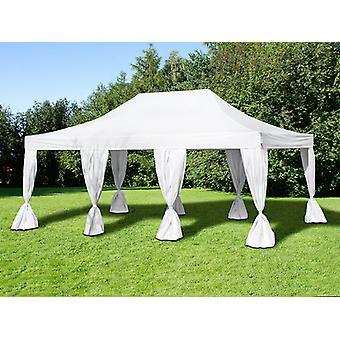 Gazebo pieghevole FleXtents Steel 4x6m Bianco, incl. 8 tendaggi decorativi