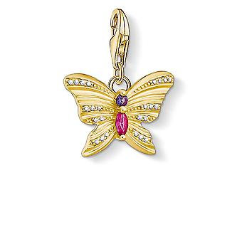 Thomas Sabo Charm Club Sterling Silver Butterfly Gold Charm Pendant 1830-995-7