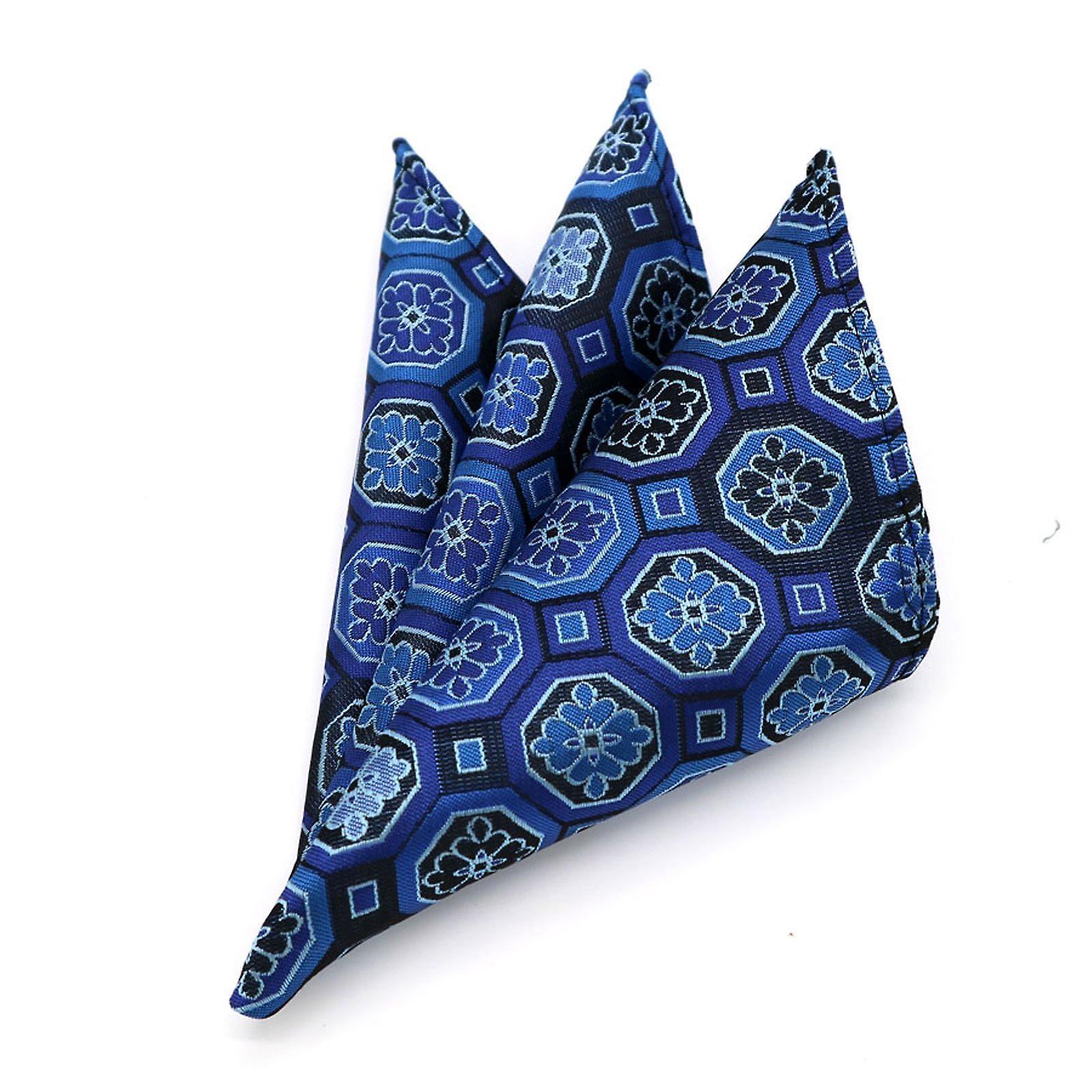 Blue geo pattern men's handkerchief pocket square