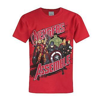 Marvel Boys T-shirt Avengers Assemble Red Kids Superheroes Top