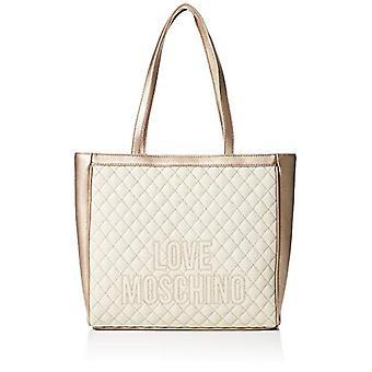 Love Moschino Pu Women's Tote Bag (Ivory/Platinum)) 28x40x12 cm (W x H x L)