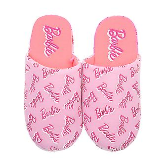 Barbie All Over Print Logo Girl's Pink Mule Slip-On Slipper