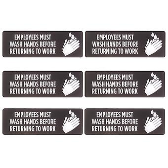 Employees Must Wash Hands Self-Adhesive Sign, 6-pack