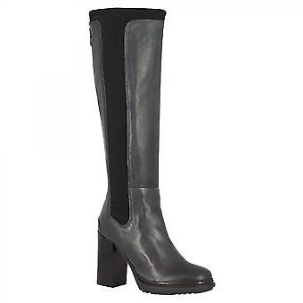 Leonardo Shoes Women-apos;s handmade high heels knee high boots in blue calf leather