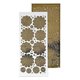 LeCrea 10 Sheets of Flower Peel Offs – Mirror Gold