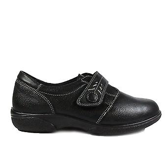 Easy B Healey 4E Black Leather Womens Wide Fitting Rip Tape Shoes