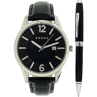 Cross Gotham Mens Calendar Black Dial & Leather Strap Watch & Black Pen Gift Set