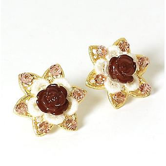 Peace of Mind Vintage Rose Lace and Glass Stud Earrings