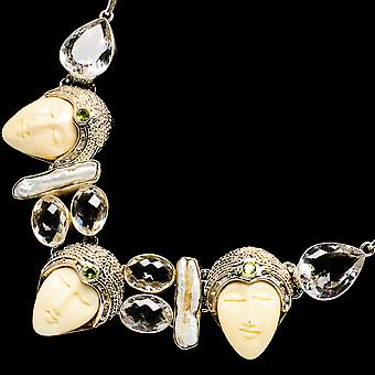 "Carved Face, White Quartz, Mother Of Pearl, Peridot Necklace 18"" (925 Sterling Silver)  - Handmade Boho Vintage Jewelry NEC12174"