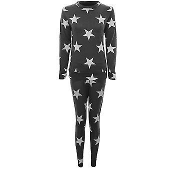 Ladies Star Print Tracksuit Casual Lounge Wear Joggers Pants Sweatshirt Set