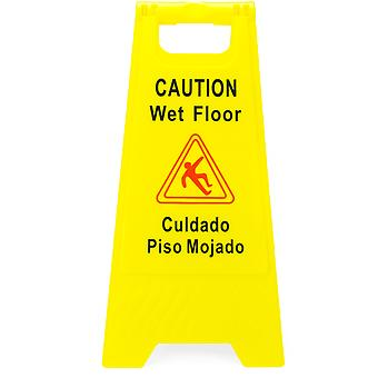 Caution Wet Floor Sign, English & Spanish