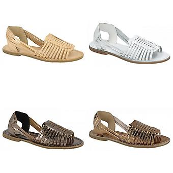 Leather Collection Womens/Ladies Weaved Slingback Sandals