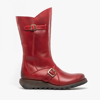 Fly London Mes 2 Dames Cuir Zip Up Mid Calf Boots Rouge