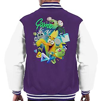 Angry Birds Game On Green Men's Varsity Jacket