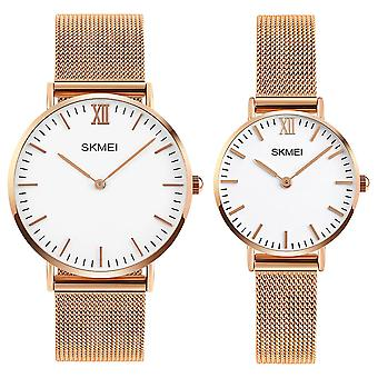 Skmei Mens And Womens Couple Set Rose Gold Ultra Thin Classic Watch Stainless Steel Strap Clear Display SK1811RG