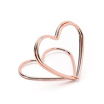10 Rose Gold Heart Wedding Place Card Holders